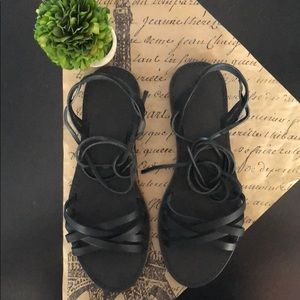 Madewell The Boardwalk Woven Lace-Up Sandal.